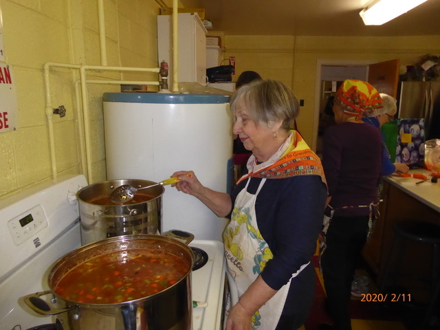 Head cook Audrey at Dartmouth Grannies' Soup Making Day
